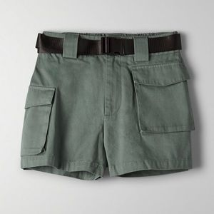 Aritzia Olive Green Sm Tina Cargo Shorts Belted